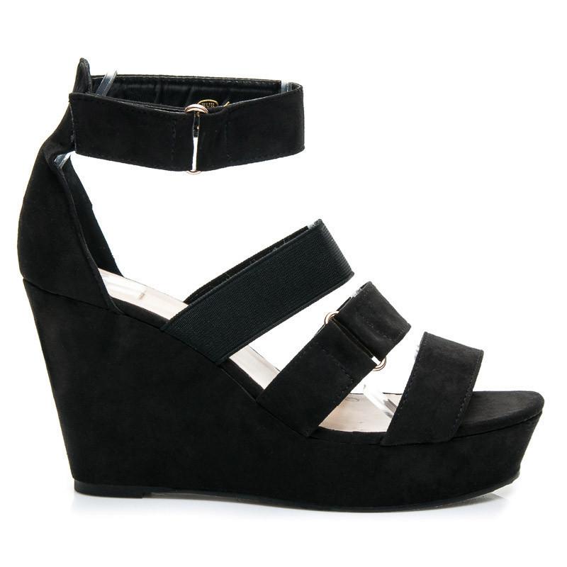 cd93c2b3a0d Černé pohodlné sandály na klínku - SERGIO TODZI - Sandále