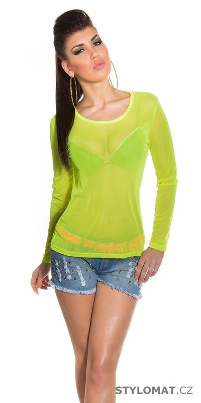 ce1b11141fe Dámské neonově zelené letní tričko - Koucla - Trička a halenky