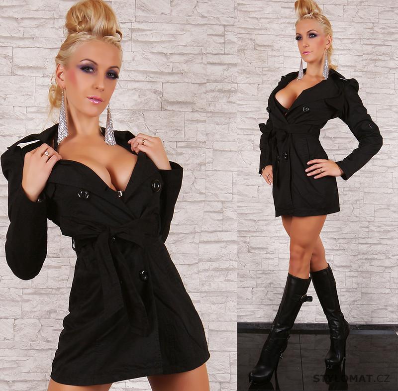 9335dd1f633 Luxusní dámský černý trenčkot s páskem REDIAL - Redial - Kabáty a kabátky