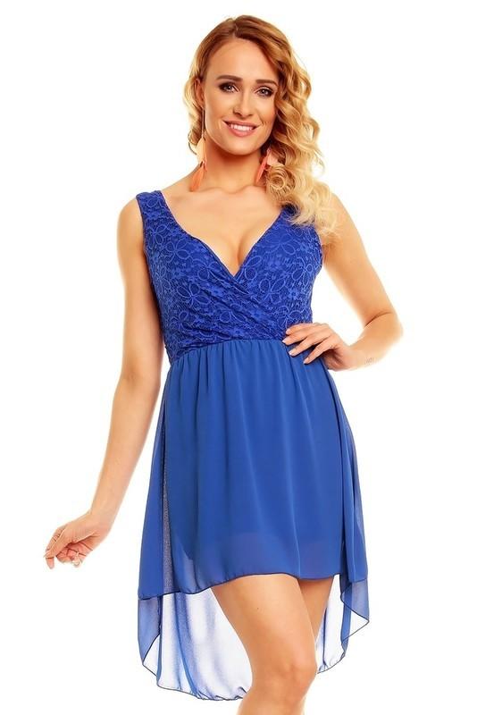 Dámské modré večerní šaty - EU - Krátké společenské šaty e87d270dfc