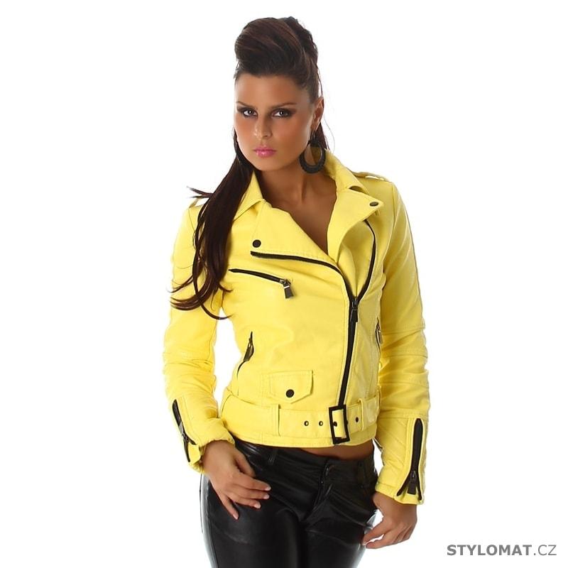 Dámská žlutá koženková bunda - křivák - Voyelles - Jarní bundy af153ede2a7