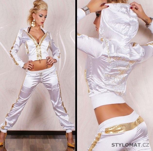 Luxusní bílá saténová sportovní souprava se zlatými lemy REDIAL - Redial - Sportovní  soupravy 0482774b95