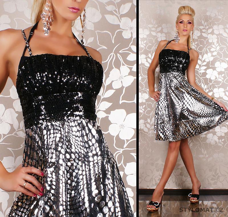 Společenské černo-stříbrné minišaty s flitry - Redial - Party a koktejlové  šaty 84f19c14b0