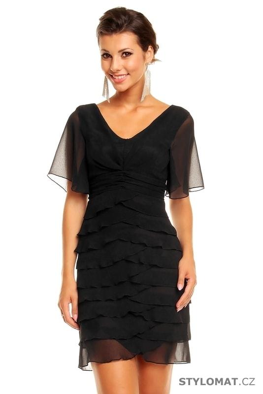 357ae86ec15 Dámské černé volánkové šaty - Mayaadi - Krátké společenské šaty