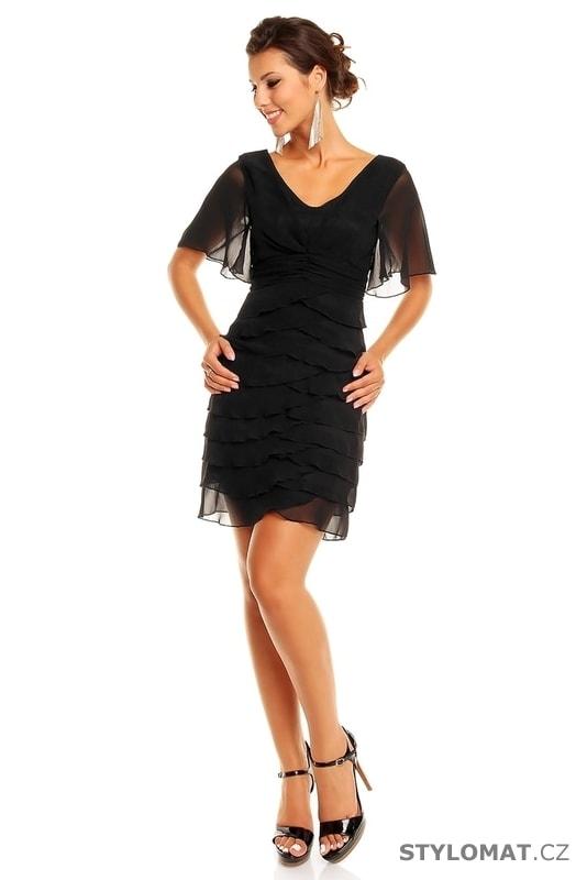 b44cf3b93a1 Dámské černé volánkové šaty - Mayaadi - Krátké společenské šaty