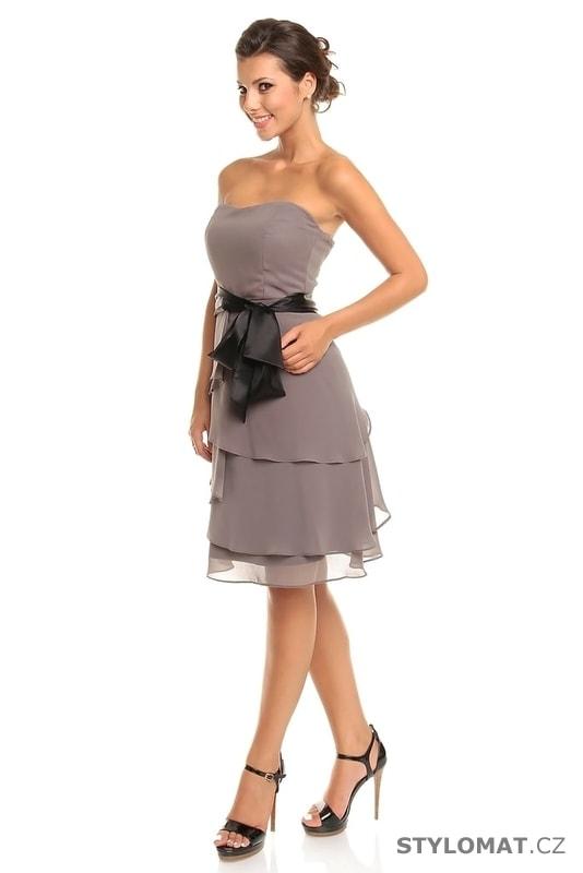 8d9354fc427 Dámské šedé koktejlové šaty - Mayaadi - Krátké společenské šaty