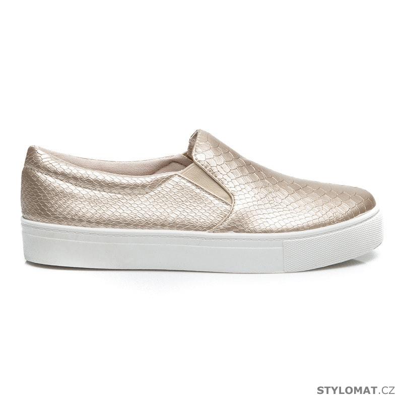 Zlaté hadí nazouvací boty - CNB - Tenisky 0c258d5e7b2