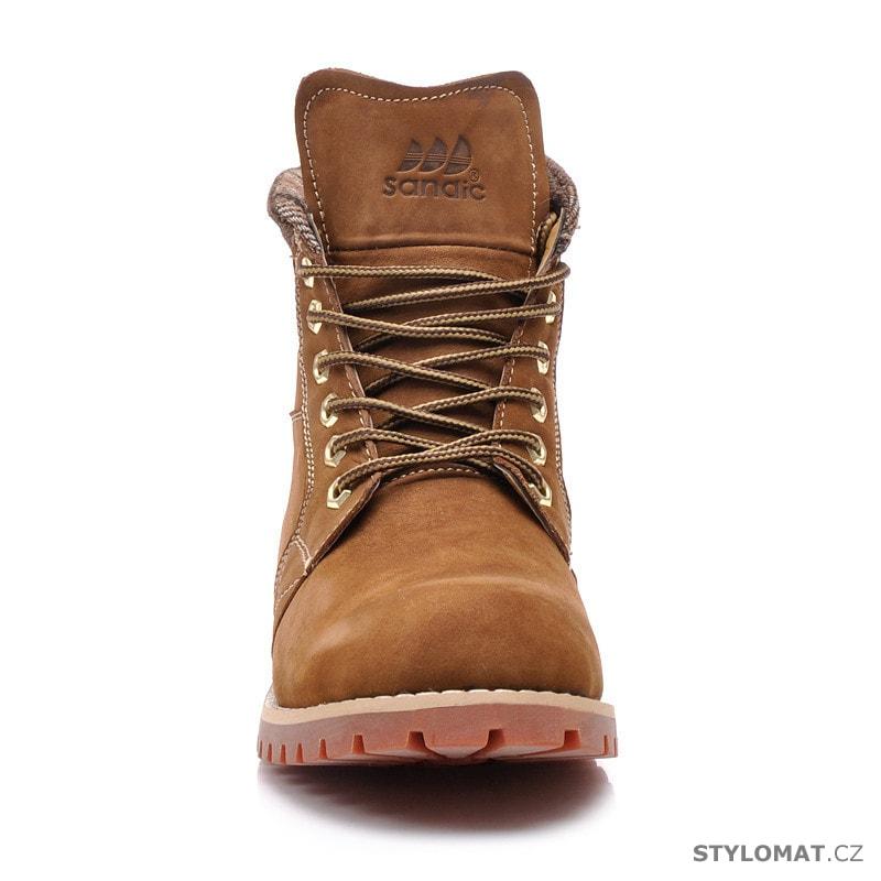 Kožené farmářky hnědé - Sandic - Kotníčkové boty 43e2e0eeb5