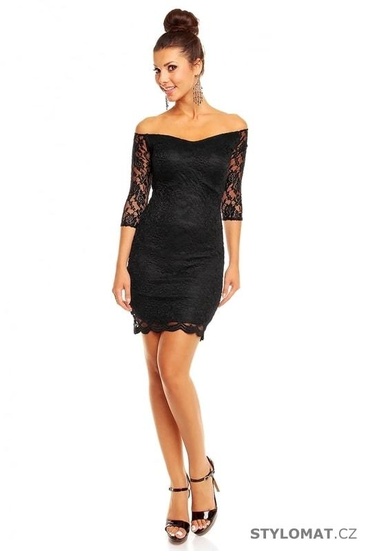 Společenské černé krajkové šaty - Mayaadi - Party a koktejlové šaty 42ff9e7bbd