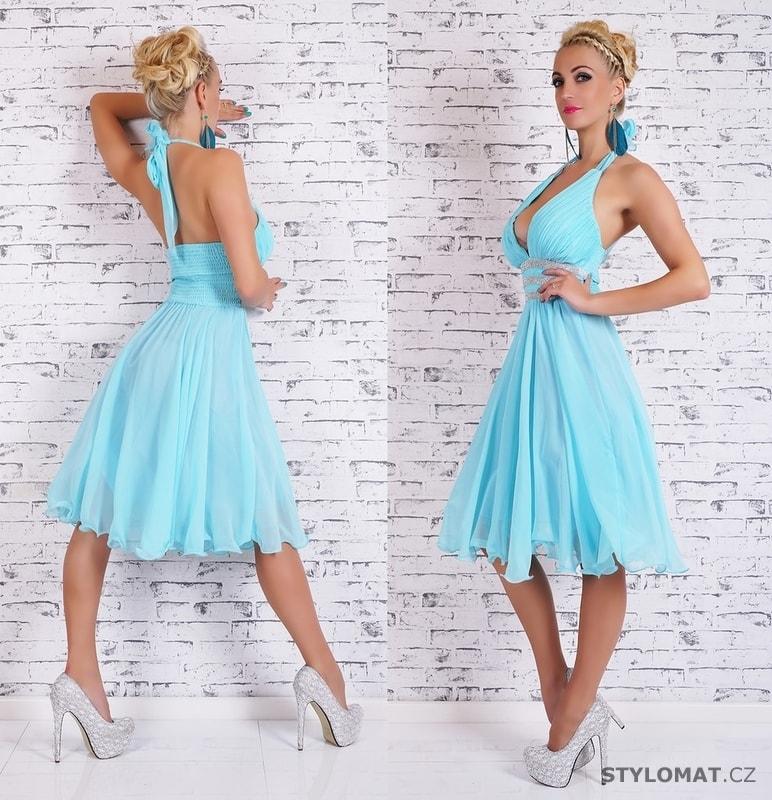 Modré večerní dámské šaty - EU - Krátké společenské šaty f539ebfa2c