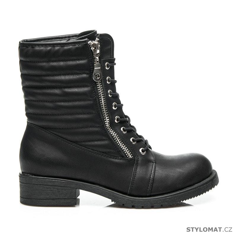 Černé rockerské workery - BEST SHOES - Kotníčkové boty a49dd3fb78