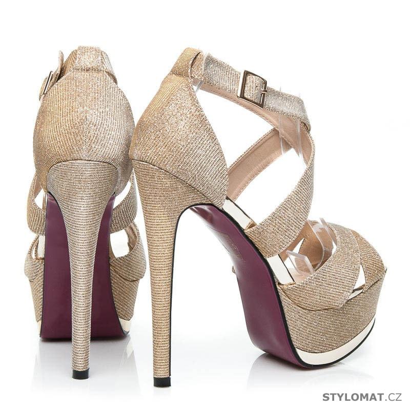 d1027c53fe2 ... Blýštívé sandály na ples zlaté. Previous  Next