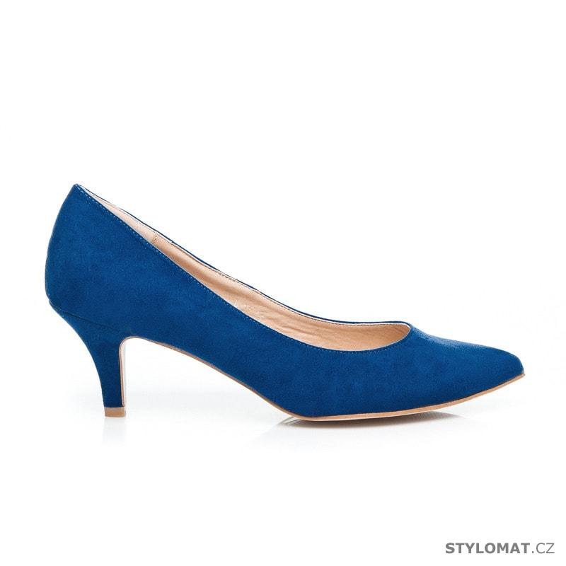 Modré lodičky na nízkém podpatku - Ella Lux - Lodičky 8697ecf426