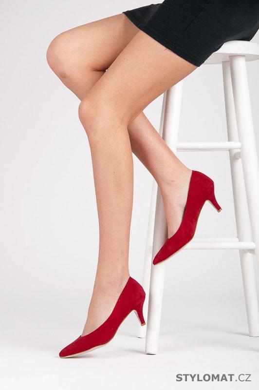 Červené lodičky na nízkém podpatku - Ella Lux - Lodičky 8fe192e08f