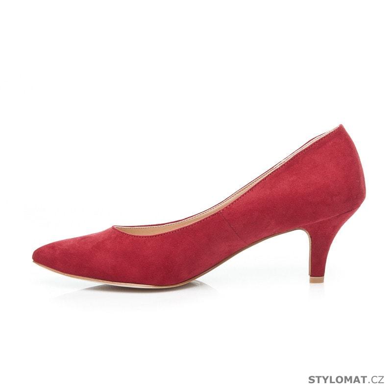 09a3251ca9d Červené lodičky na nízkém podpatku - Ella Lux - Lodičky