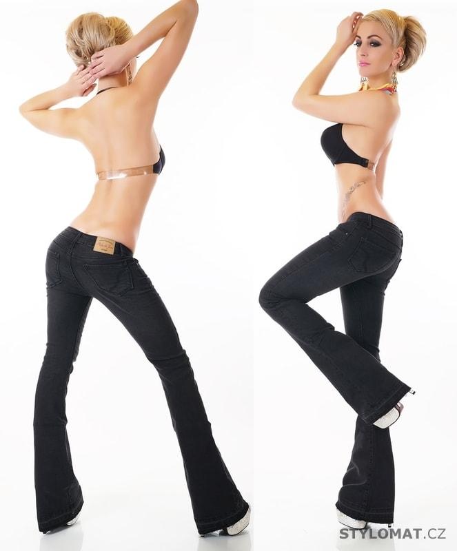 f9f90469b86 Dámské černé džíny do zvonu - EU - Jeansy