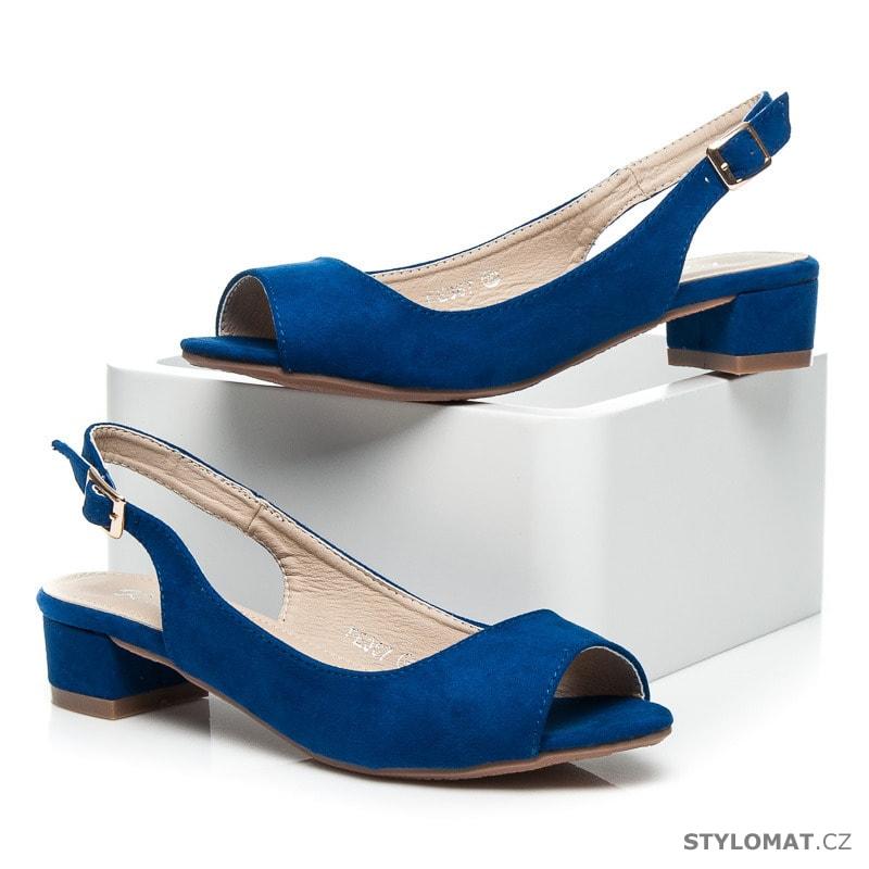 9c43eff0b87 Semišové modré sandály na nízkém podpatku - RandBE - Sandále