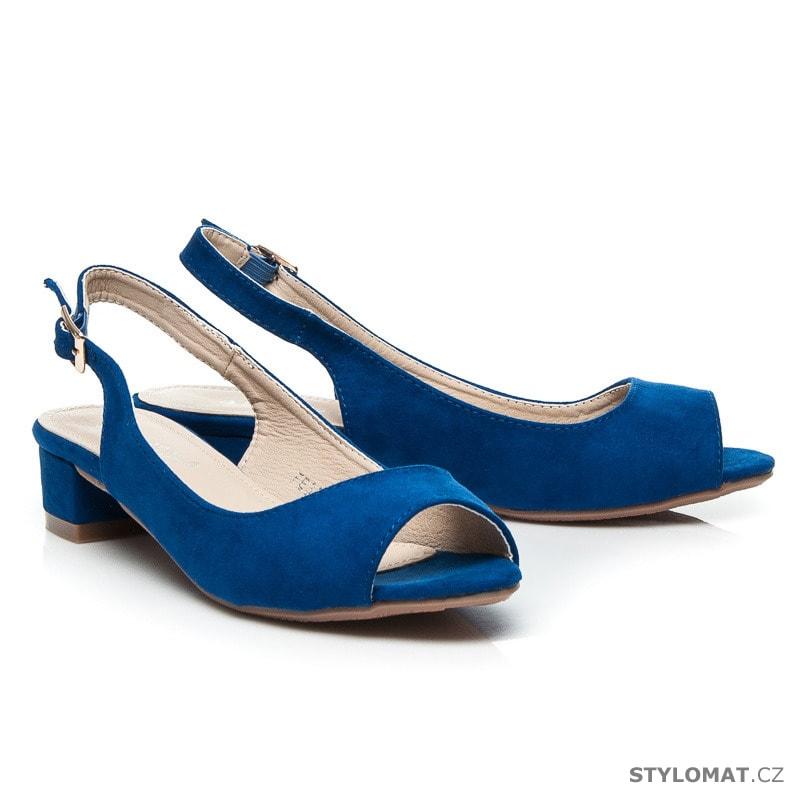 abd218737d7 ... Semišové modré sandály na nízkém podpatku. Previous  Next
