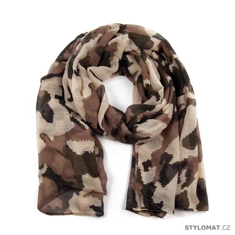 Hnědý šátek v maskáčovém army stylu - Art of Polo - Dámské šály a šátky 3af0318dda