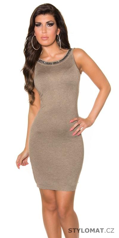 8d1afdd2144 Dámské béžové šaty zdobené flitry 2v1 - Best Emilie - Party a ...