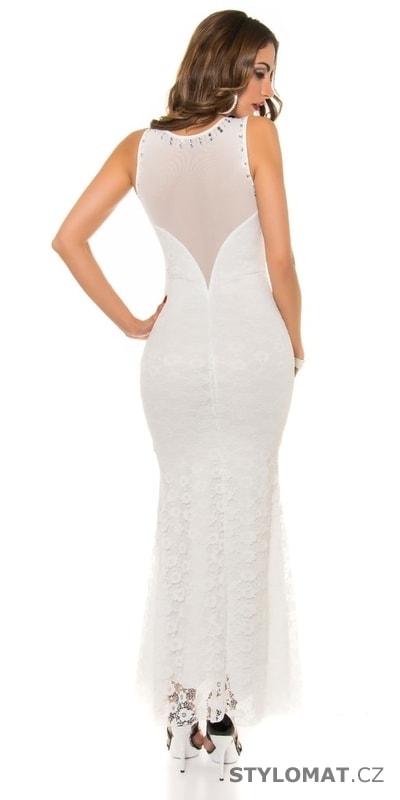 Elegantní plesové šaty bílé zdobené kamínky - Koucla - Dlouhé společenské  šaty 8eb9222406
