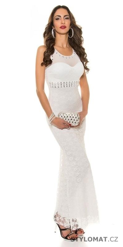 ... Dlouhé společenské šaty    Elegantní plesové šaty bílé zdobené kamínky.  Previous  Next 62cc5400c2