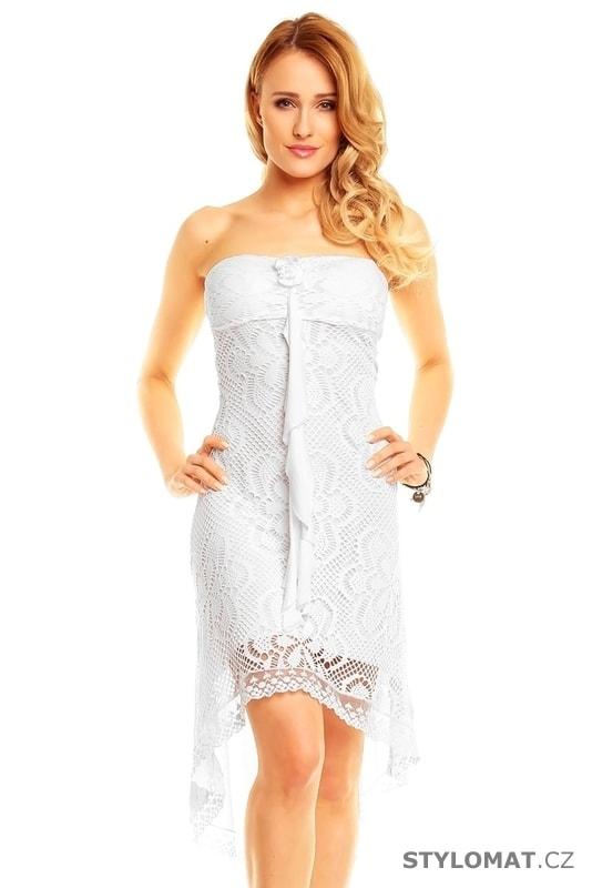 7337f25db7e Bílé háčkované šaty nad prsa - Best Emilie - Party a koktejlové šaty