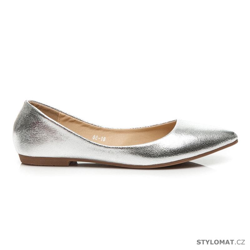 Stříbrné metalické baleríny do špičky - CREAMBERRY S - Baleríny 278f7c4a2d