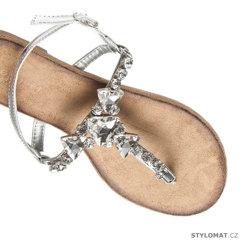 0f2d56a247a Stříbrné sandály žabky s kamínky - BELLUCCI - Sandále