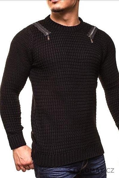 Černý pánský svetr se zipy na ramenou - CRSM - Svetry a mikiny d8f89150d4