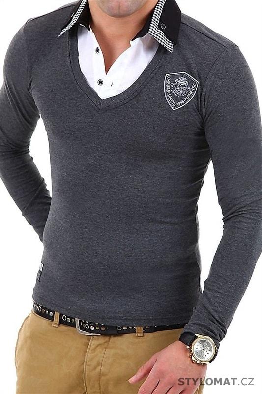 Pánský šedý svetr s výstřihem do V 6f4800d313