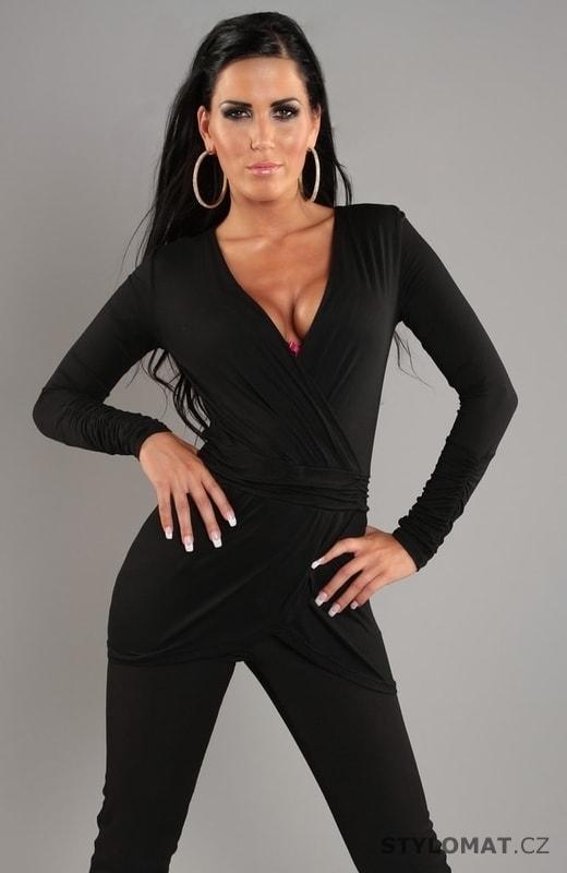 Elegantní černé tričko s dlouhým rukávem - Koucla - Trička a halenky 7a36e0671e
