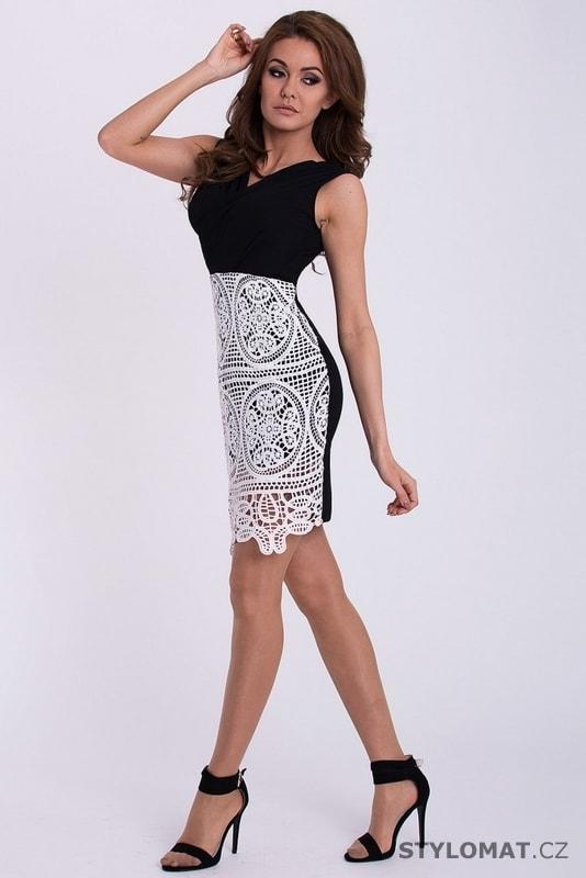 Černé šaty s bílou krajkou na sukni - Emamoda - Party a koktejlové šaty 2e110f55d9