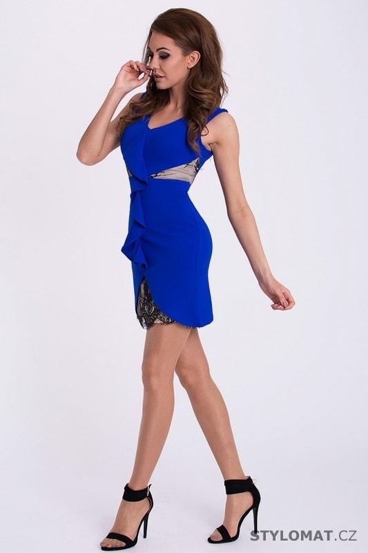 Modré pouzdrové šaty s volánem - Emamoda - Party a koktejlové šaty 865d566881