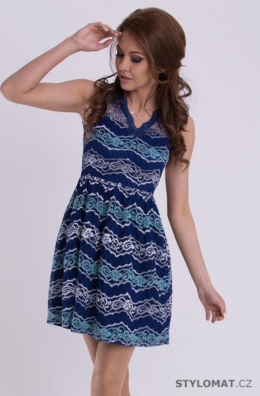 Romantické dívčí šaty tmavě modré - Emamoda - Krátké letní šaty 3fea761bd3c