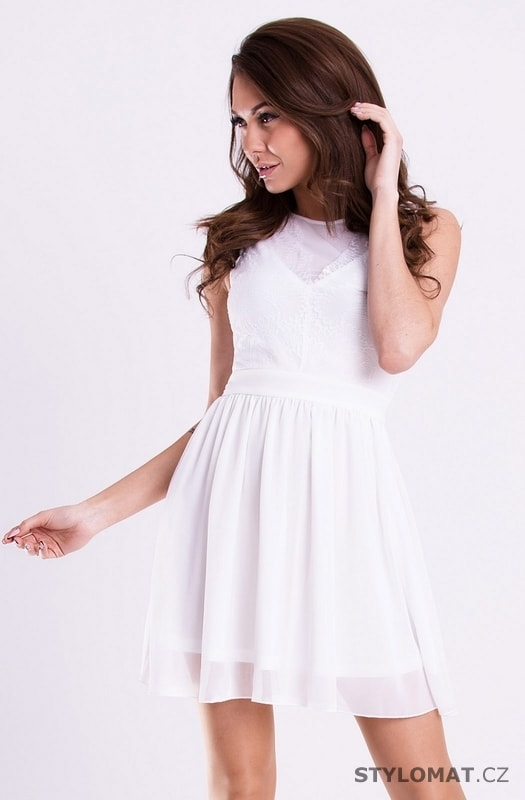 6b714b106b5 Romantické jemné šaty bílé - YNS - Party a koktejlové šaty