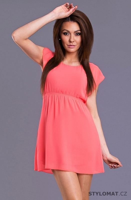 41b43e2571e Letní lososové šaty - Emamoda - Krátké letní šaty