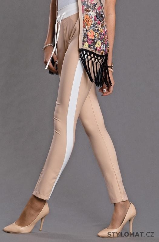 344ec2b1714 Slim nude kalhoty s lampasy - Emamoda - Kalhoty