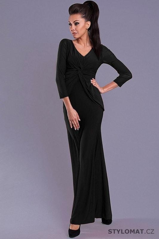 Elegantní černé dlouhé šaty s dlouhými rukávy - Pink BOOm - Dlouhé  společenské šaty bef50ffc5b