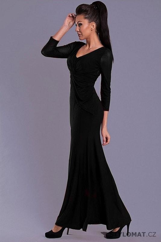 Elegantní černé dlouhé šaty s dlouhými rukávy - Pink BOOm - Dlouhé  společenské šaty e5f474d8ac0