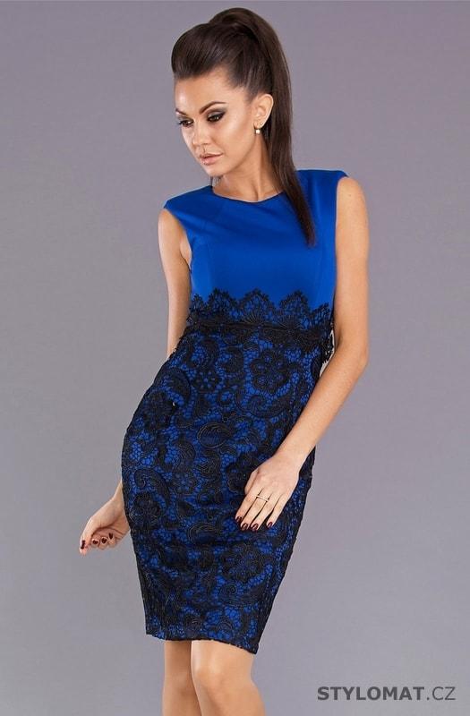 Modré krajkové šaty - Emamoda - Party a koktejlové šaty ada674c89d4