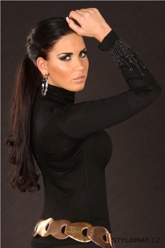 412fff07c4f Dámský černý rolák se štrásovými kamínky - Redial - Trička s dlouhým rukávem