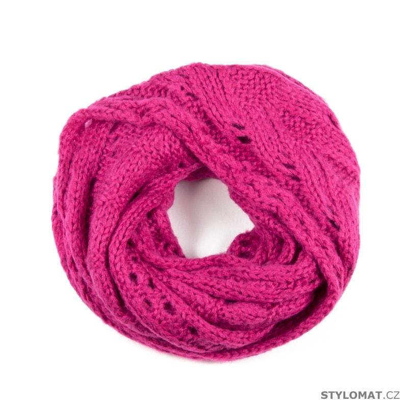 Pletená kruhová šála s ažurovým vzorem růžová - Art of Polo - Dámské ... 0c5fd07af6