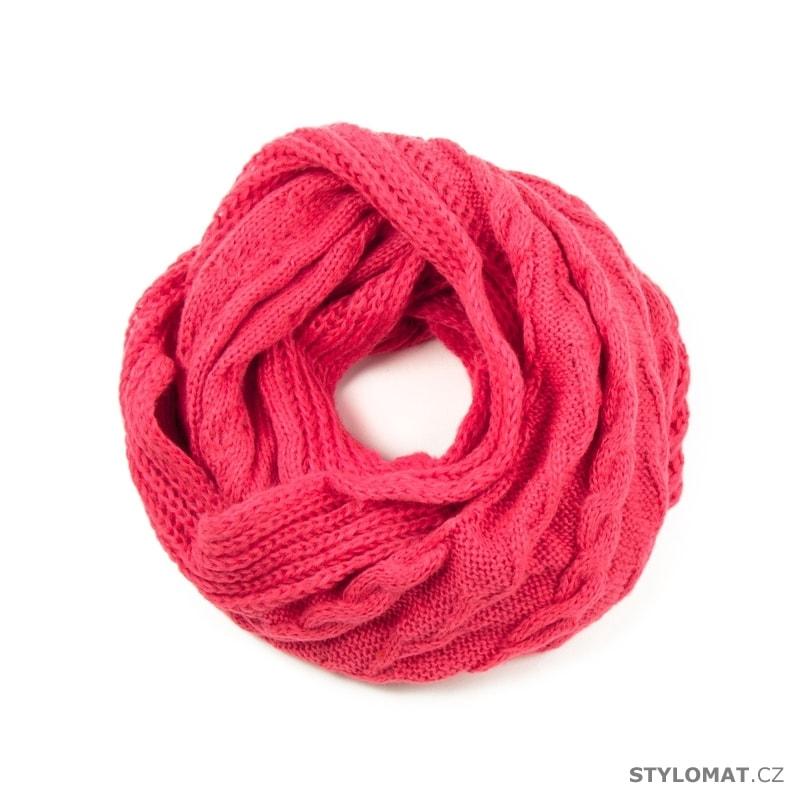 Růžová kruhová šála s copánkovým vzorem - Art of Polo - Dámské zimní ... 8e0700d26b