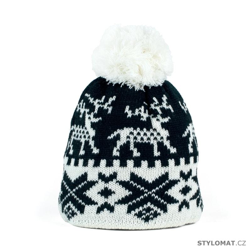 79d1bebf1eb Zimní čepice s norským vzorem černobílá - Art of Polo - S bambulí