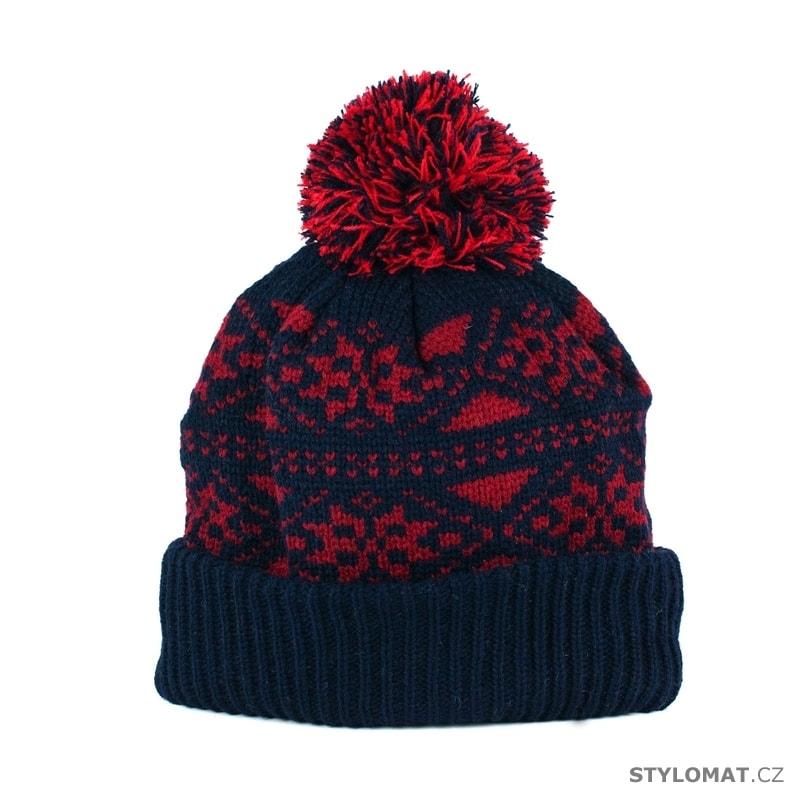 Módní modročervená čepice s bambulí zdobená motivem sněhových vloček ... 9e11b45412