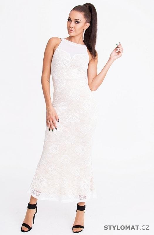 Bílé letní krajkové šaty - Emamoda - Dlouhé letní šaty c5db4f106e