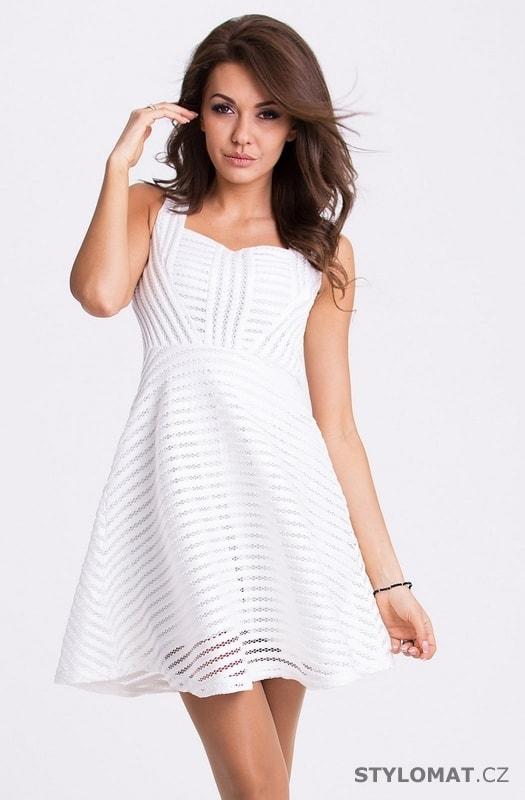 Bílé letní business šaty - Emamoda - Krátké letní šaty f40075439f6