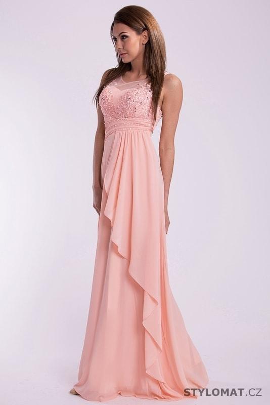 Luxusní růžové šaty na ples - Eva Lola - Dlouhé společenské šaty 443fecd7fc