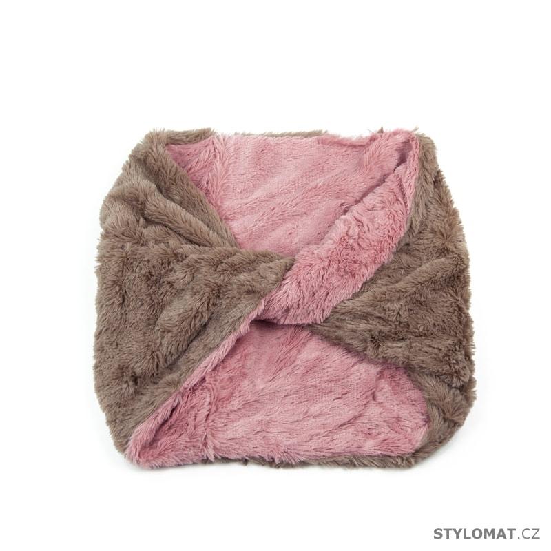 Kožíškový kruhový šál béžovo-růžový - Art of Polo - Dámské zimní šály bed22c0d54